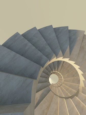 Abstract spiral staircase with concrete steps in warm light