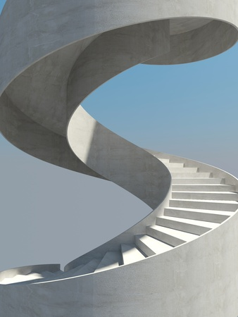 Abstract spiral staircase over blue sky background photo