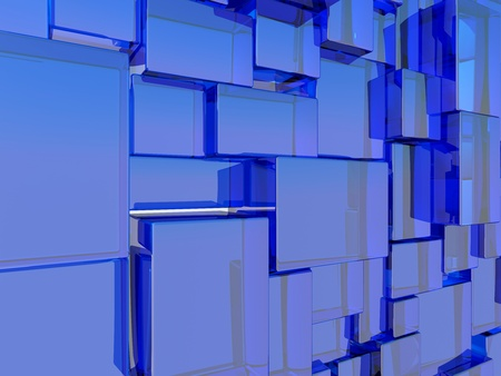 Abstract architectural wall made of blue glass cubes