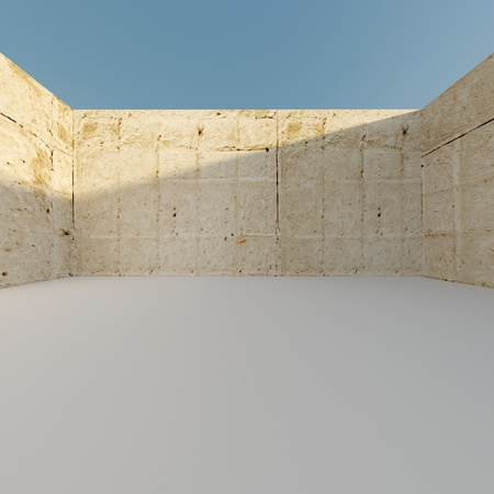 Architectural background with concrete armoured wall, white floor and clear blue sky. High resolution 3d-rendering