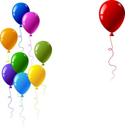 globos fiesta: Ilustraci�n vectorial con globos de colores aislados en blanco