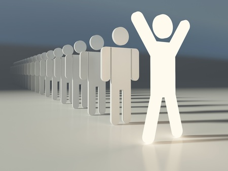 Outstanding leader of a team. Glowing human figure ahead of line. People in a row. Business concept