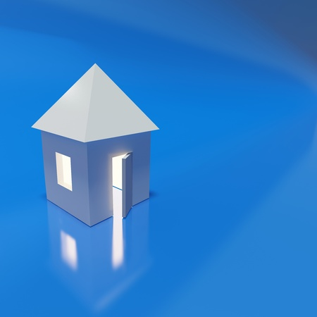 Abstract model of beautiful house over blue background