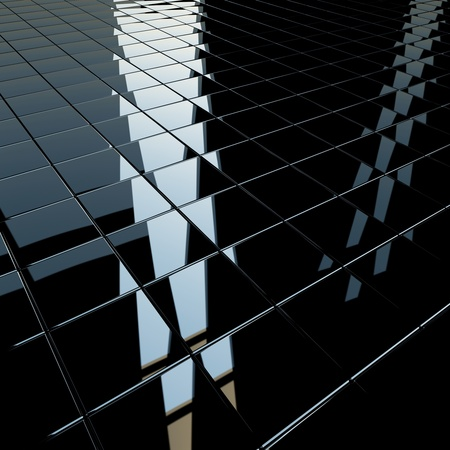 Background made of black flat glossy cubes with strong reflection. High resolution 3d-rendering, square format photo