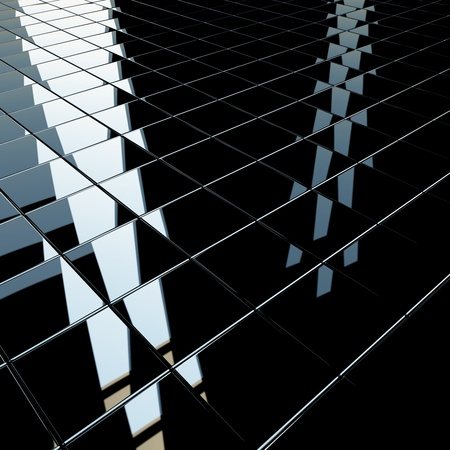 Achtergrond gemaakt van zwarte platte glanzend kubussen met sterke reflectie. Hoge resolutie 3D-rendering, vierkant formaat