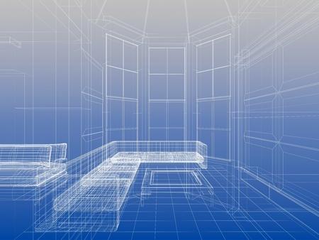 Abstract wireframe interieur van woonkamer open ruimte over blauwe gradient achtergrond