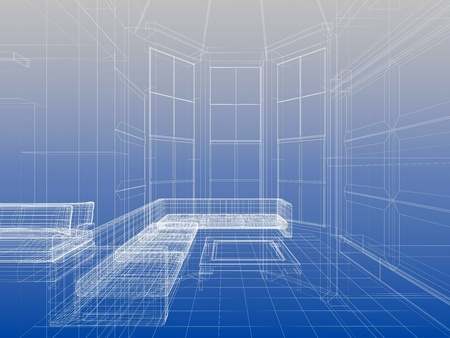 Abstract wireframe interior of livingroom open space over blue gradient background