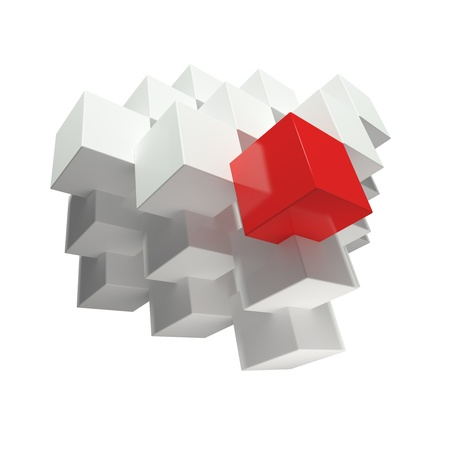 Abstract cubes composition. One red cube and grey cubes over white background