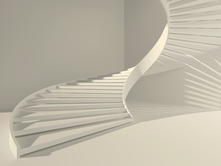 Abstract white interior with spiral staircase as a way to success