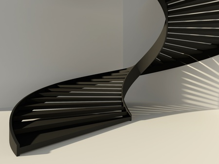 Abstract white interior with black spiral staircase as a way to success Stock Photo