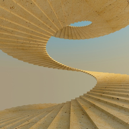 Abstract spiral concrete staircase in warm natural light. High-resolution 3d rendering Stock Photo