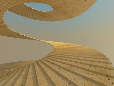Fragment of spiral staircase in warm light Stock Photo - 12507761