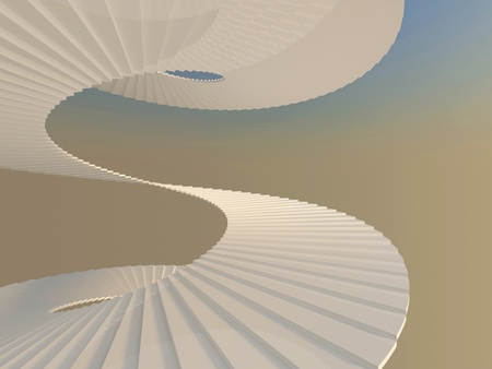 White spiral staircase. Way to success concept