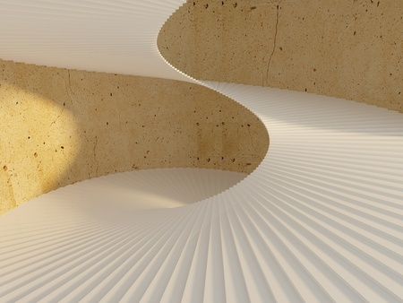 Thin elegant spiral staircase inside yellow concrete tower photo