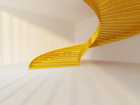 Golden spiral staircase in white interior Foto de archivo
