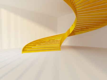 Golden spiral staircase in white interior photo