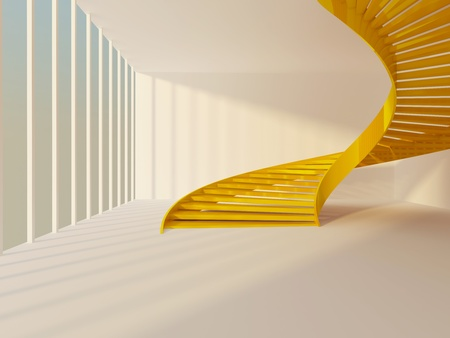 Golden spiral staircase in white modern interior photo