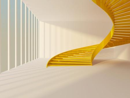Golden spiral staircase in white modern interior photo