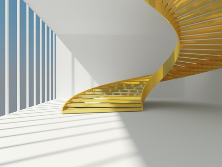 Golden spiral staircase inside modern interior Stock Photo