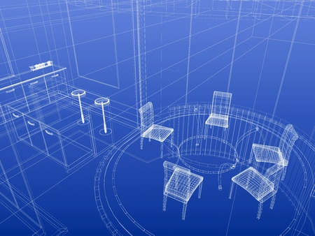 Kitchen and dining wireframe interior. Blueprint style. 3d-rendering