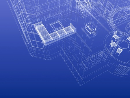 Fragment of house drawing blueprint style. Interior planning concept. 3d-rendering Foto de archivo