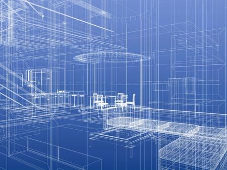 Huis interieur blauwdruk stijl. 3d-rendering Stockfoto