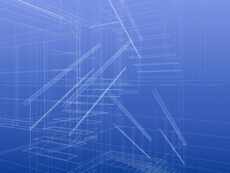 Fragment of staircase inside a house. Planning concept, construction frame