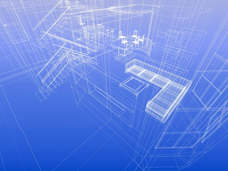 house blueprint: House concept. Wireframe interior of a house. Blueprint style. 3d-rendering Stock Photo