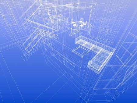 Huis concept. Wireframe interieur van een huis. Blauwdruk stijl. 3d-rendering Stockfoto