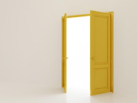 Open golden doors on white interior background