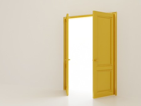 Open golden doors on white interior background photo