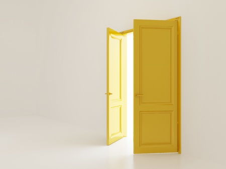 White empty interior with open golden doors and outer light photo