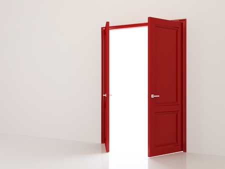 opening door: White room with open red double doors