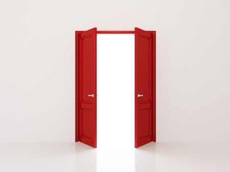puerta abierta: Dos puertas rojas se abren a la luz