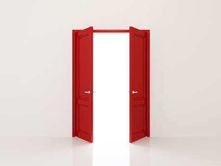 Two red doors opening to the light Stock Photo