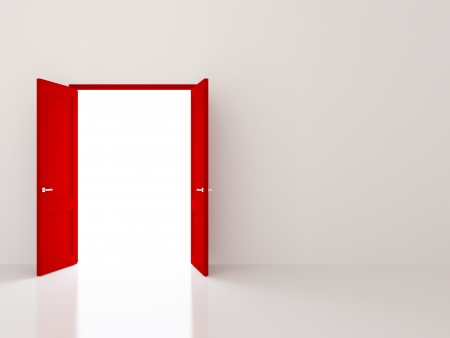 doors open: Two red doors opening to the light Stock Photo