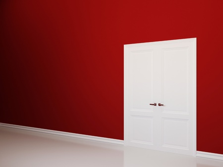 Red empty interior with white doors photo
