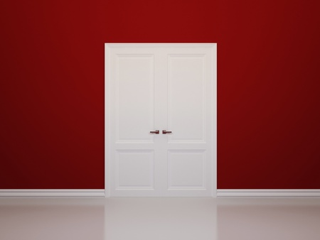 Red walls and white door. Front view Stock Photo
