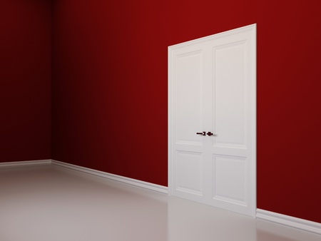 Interior background with red walls and white double doors. Corner view photo