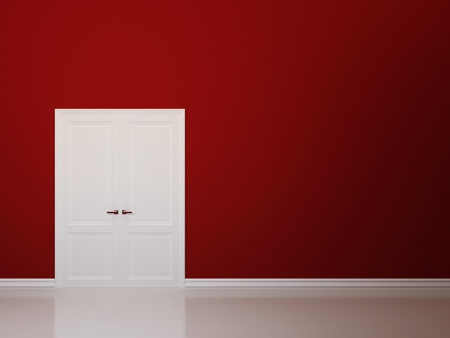 Empty red wall and white double door Stock Photo - 12848073
