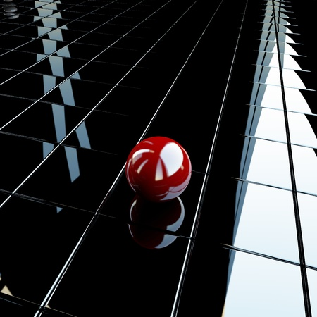 Lonely red sphere over glossy surface Stock Photo - 12848052