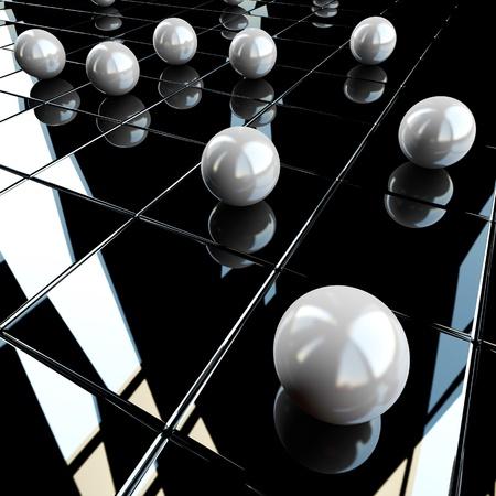 black block: Shperes blancas sobre fondo negro brillante Foto de archivo