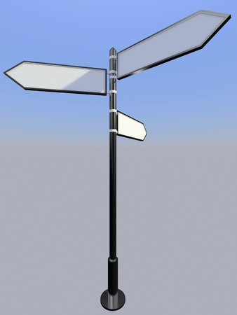 Blank signpost with three arrows over blue and grey abstract background. 3d-illustration Stock Illustration - 13485882