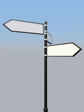 Blank signpost with three arrows over blue and grey abstract background  3d-illustration Stock Illustration - 13485889