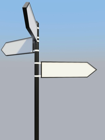 Blank signpost with three arrows over blue and grey abstract background  3d-illustration Stock Illustration - 13485883