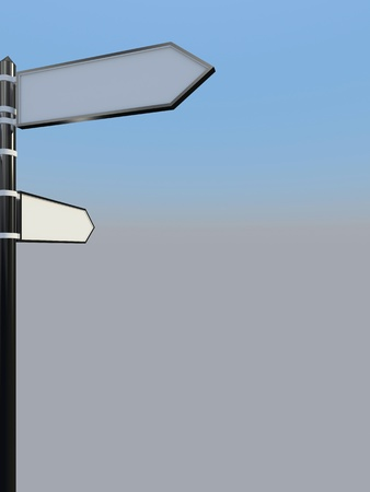 Blank signpost with two arrows over blue and grey abstract background  3d-illustration Stock Illustration - 13485723