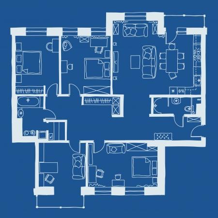 Vector illustratie van appartementen plattegrond