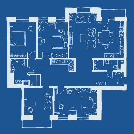 Vector illustration of apartments  floor plan Иллюстрация