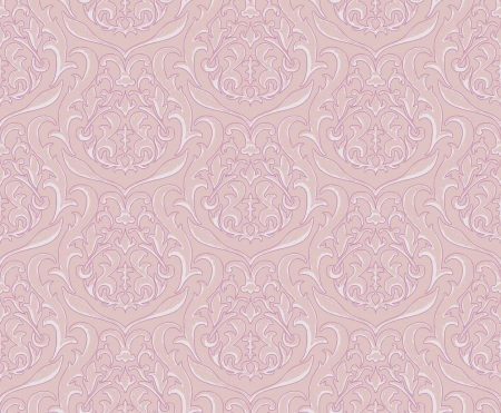 Vector illustration - pink damask wallpaper