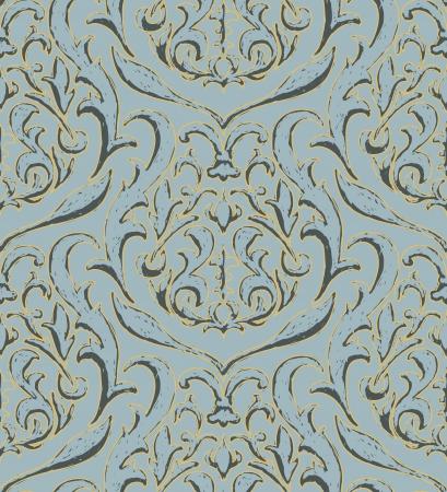 Rijke vector textuur - blauw en goud Stock Illustratie
